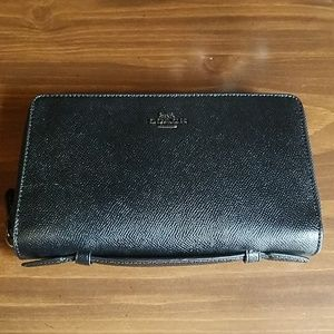 Coach Black Leather Double Zip Travel Wallet